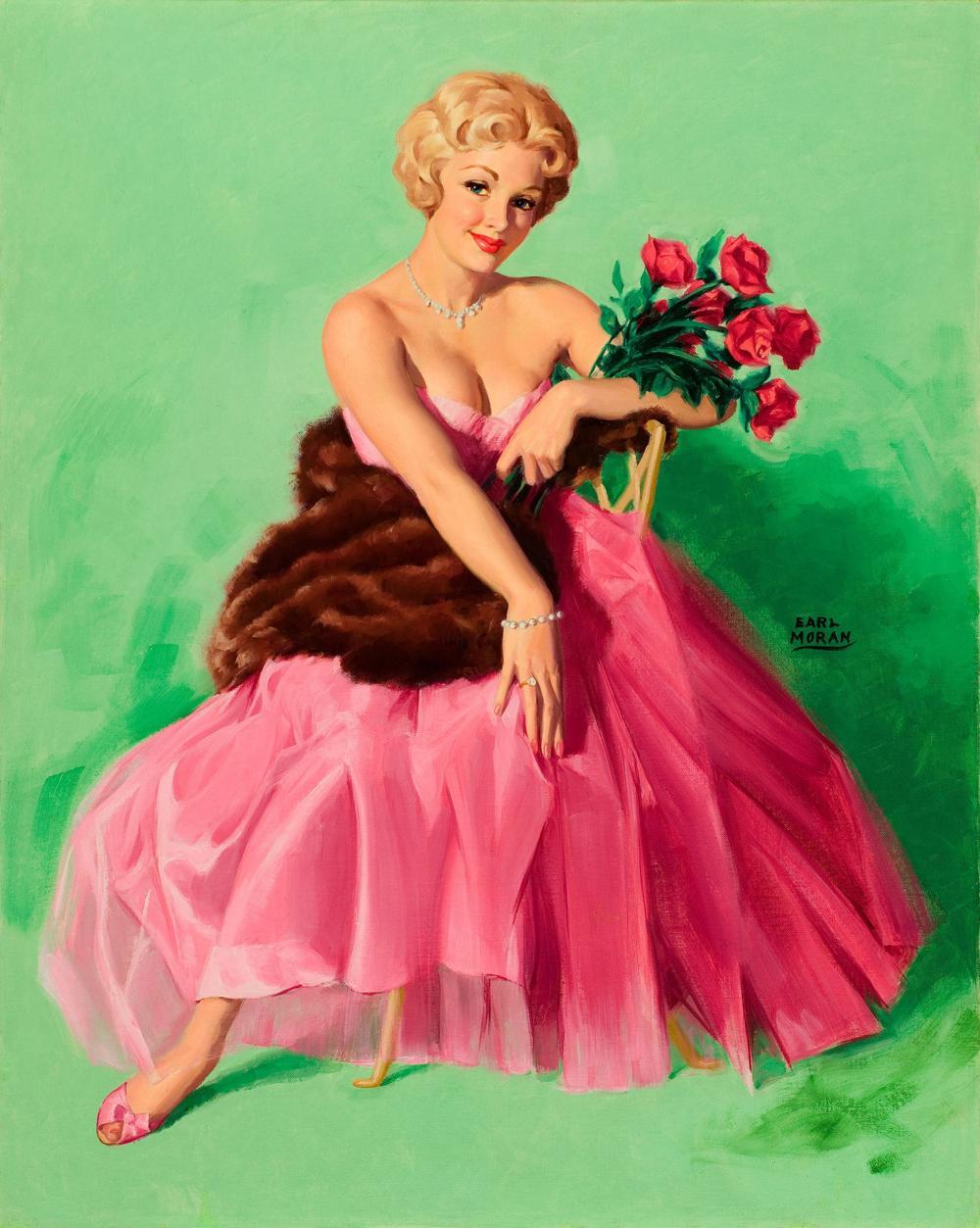 Earl Moran Lady in Pink
