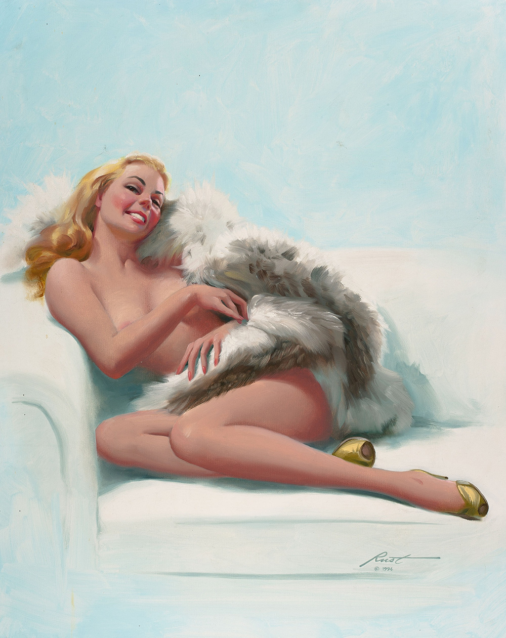 "Donald ""Rusty"" Rust Seated Nude With Fur"