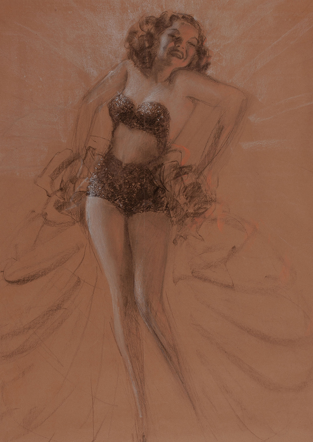 Rolf Armstrong Study of a Pinup Charcoal